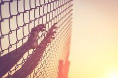 Ręka trzyma dalej łańcuszkowego połączenia ogrodzenie Zdjęcia Stock