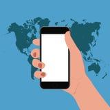 Ręka trzyma mądrze telefon, wektorowa ilustracja Fotografia Stock