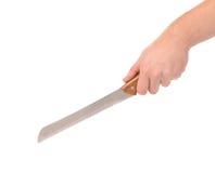 Ręka trzyma nóż dla chleba Zdjęcia Royalty Free