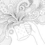 Ręka trzyma piwnego szkło royalty ilustracja
