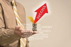 Ręka trzyma reklamę, sukces Zdjęcie Stock
