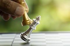 Ręka trzyma szachowego kawałek Zdjęcia Royalty Free
