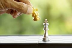 Ręka trzyma szachowego kawałek Obrazy Stock