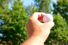 Ręka trzyma up piłkę Obrazy Royalty Free