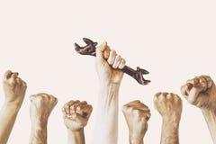 Ręka trzyma wyrwanie, święto pracy fotografii pojęcie, Kilka inżynier konstrukcja zdjęcie stock