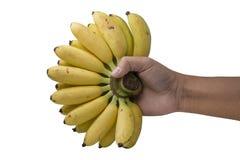 Ręka trzyma złotego banana odizolowywający na bielu Zdjęcie Royalty Free