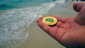 Ręka trzyma złotego bitcoin, plaża Fotografia Stock