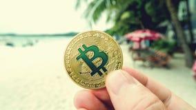 Ręka trzyma złotego bitcoin, plaża zdjęcie royalty free