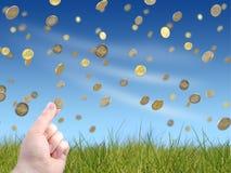 ręka trzymająca monet Fotografia Stock