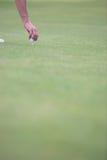Ręka umieszcza piłkę na golfowym trójniku Fotografia Stock