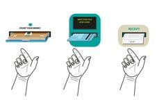 Ręka usuwa pieniądze, atm kartę lub urzędnika kwit, od narrator maszyny ATM lub Obrazy Royalty Free