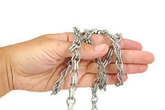 Ręka w łańcuchu odizolowywającym na białym tle Obraz Royalty Free