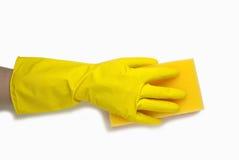 Ręka w żółtej rękawiczce Obraz Royalty Free
