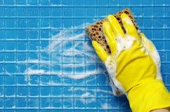 Ręka w żółtej rękawiczce Fotografia Stock