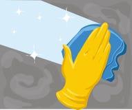 Ręka w żółtej rękawiczce czyści nadokienną Wektorową ilustrację Obraz Stock