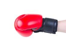 Ręka w bokserskiej rękawiczce dmucha odosobnionego Zdjęcia Royalty Free