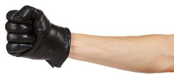 Ręka w czarnej rzemiennej rękawiczce Zdjęcia Royalty Free