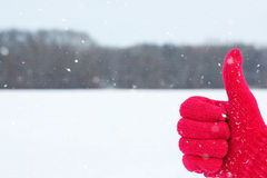Ręka w czerwonej woolen rękawiczce z kciukiem up na zimie Zdjęcia Royalty Free