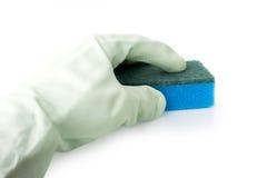 Ręka w rękawiczce z gąbką Obrazy Stock