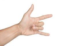 Ręka w shaka lub dzwonić gescie na białym odosobnionym tle Zdjęcia Royalty Free