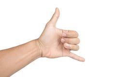 Ręka w shaka lub dzwonić gescie na białym odosobnionym tle Zdjęcie Stock