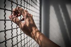 Ręka więźnia mienia metalu nieociosany ogrodzenie z deseniowym cieniem, przestępca blokował w więzieniu Fotografia Stock