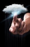 Ręka wskazuje chmurę oblicza technologię Obraz Stock