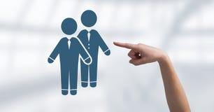 Ręka wskazuje przy biznesową parą współpracuje ikonę Fotografia Stock