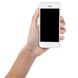 Ręka wystawia opóźnionego mobilnego handset Obrazy Stock
