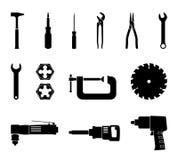 Ręka wytłacza wzory wektorowego ikona set Zgromadzenie narzędziowy utrzymanie i remontowa usługa fotografia stock