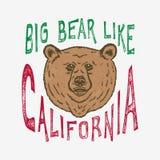 Ręka wytłoczony Duży niedźwiedź jak Kalifornia Royalty Ilustracja