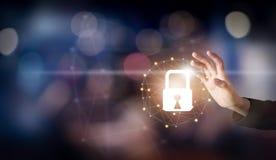 Ręka wzruszający interfejs online i ikona klucza kędziorka sieci związek na ekranie Cyber ochrona sieć zdjęcia stock