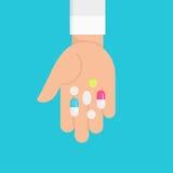 Ręka z Colourful medycyn pigułkami Płaska wektorowa ilustracja ilustracja wektor