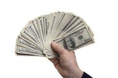 ręka z dolarową walutą Obrazy Stock