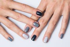 Ręka z eleganckim szarość manicure'em odizolowywającym dalej obraz stock