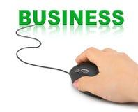 Ręka z komputerowym myszy i słowa biznesem Zdjęcie Royalty Free