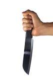 Ręka z kuchennym nożem odizolowywającym Obrazy Stock