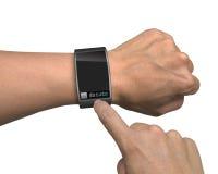 Ręka z mądrze zegarka i palca dotyka ekranem Obrazy Royalty Free