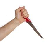 Ręka z nożem odizolowywającym Fotografia Royalty Free