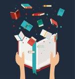 Ręka z otwartym książkowym projektem royalty ilustracja