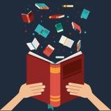 Ręka z otwartym książkowym projektem ilustracja wektor