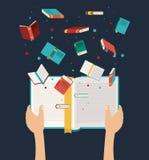 Ręka z otwartym książkowym projektem ilustracji