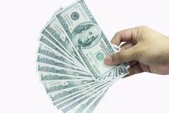 Ręka z paczką sto dolarów Obrazy Stock