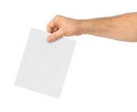 Ręka z papierowym tajnym głosowaniem Obraz Royalty Free