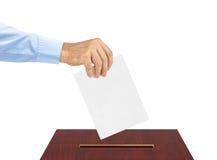 Ręka z papierowym tajnym głosowaniem Obrazy Royalty Free