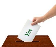Ręka z tajnym głosowaniem i pudełkiem Fotografia Stock
