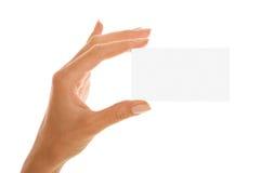 Ręka z wizytówką fotografia stock