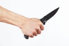 Ręka z wojsko nożem na białym tle Zdjęcie Royalty Free