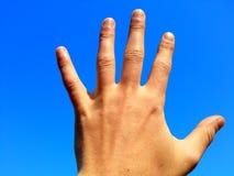 Ręka zasięg dla pięknego jasnego nieba Obrazy Royalty Free