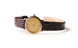 Ręka zegarek odizolowywający na białym tle Zdjęcia Stock